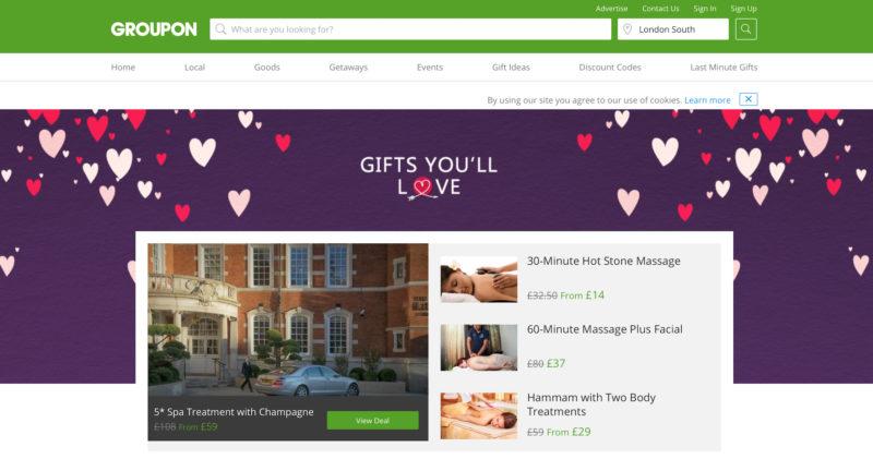 Groupon sito web San Valentino
